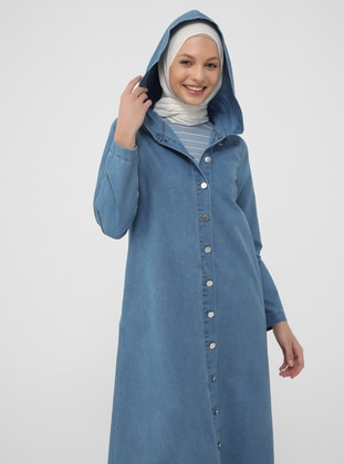 Natural Fabric Hooded Denim Cape - Ice Blue