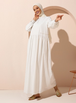 Natural Fabric Relax Fit Dress with Shimmer Details - Off White - Woman