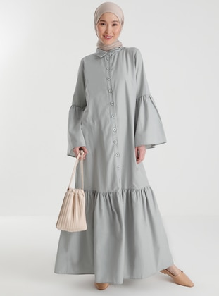 Cotton Dress With Flounced Sleeves and Skirt - Sky Blue - Casual