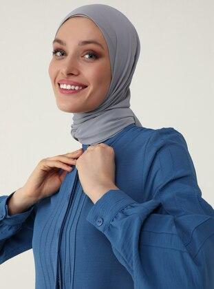 Rib Detailed Aerobin Long Tunic - Indigo- Refka Woman