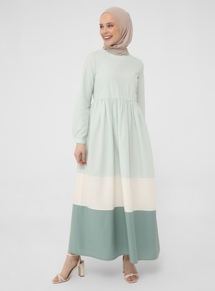 Color Block Wide Skirt Cotton Dress - Nile Green - Refka Casual