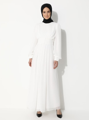 White - Unlined - Crew neck - Muslim Evening Dress