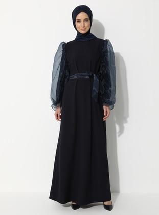 Navy Blue - Unlined - Crew neck - Muslim Evening Dress