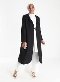 Black - Unlined - Shawl Collar - Plus Size Coat