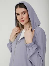 Oversize Hooded Zippered Cape - Lilac