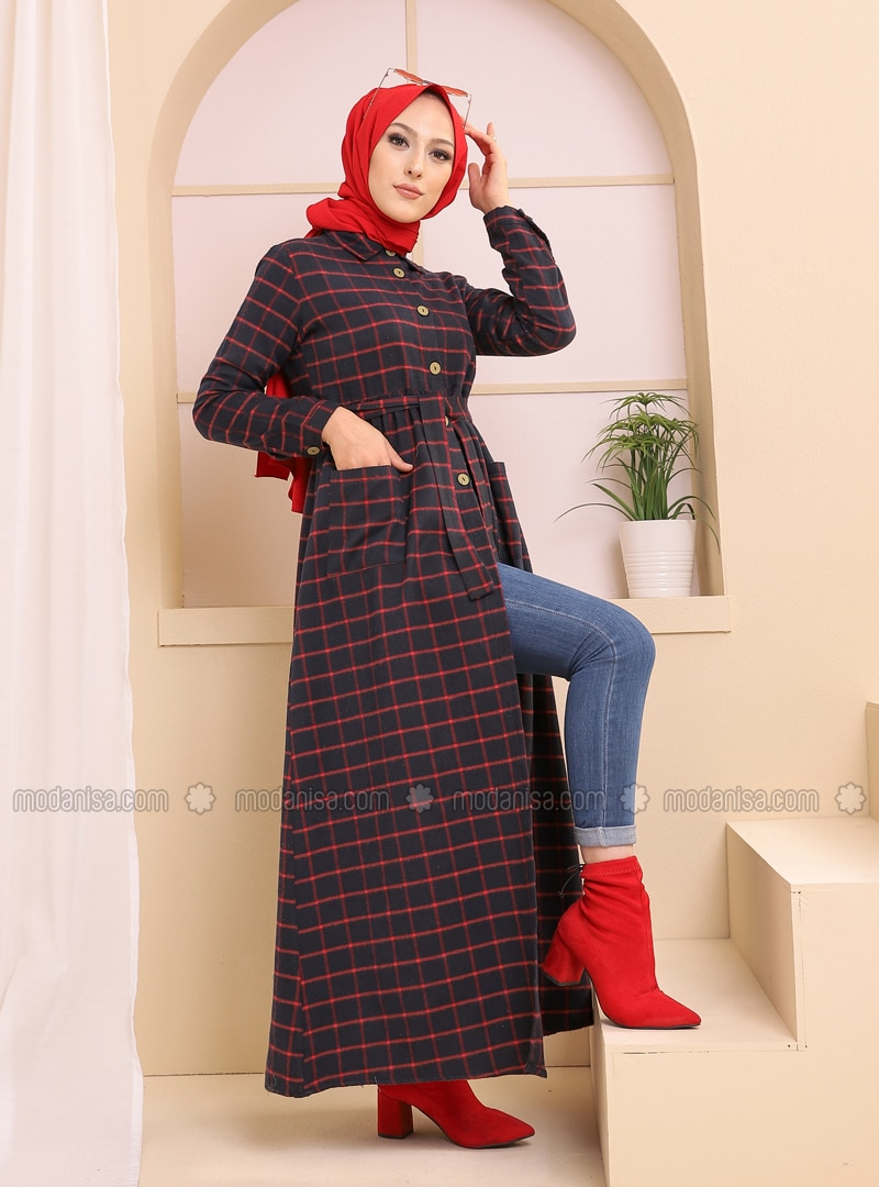 Red - Black - Plaid - Point Collar - Unlined - Dress