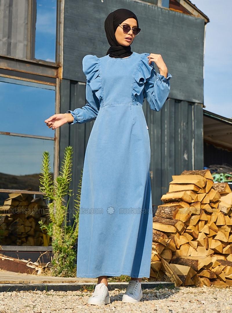 Blue - Crew neck - Unlined - Dress