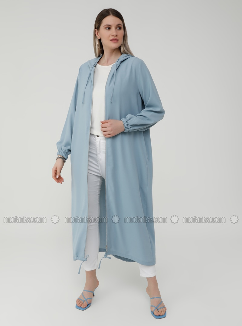 Oversize Hooded Zippered Cape - Ice Blue
