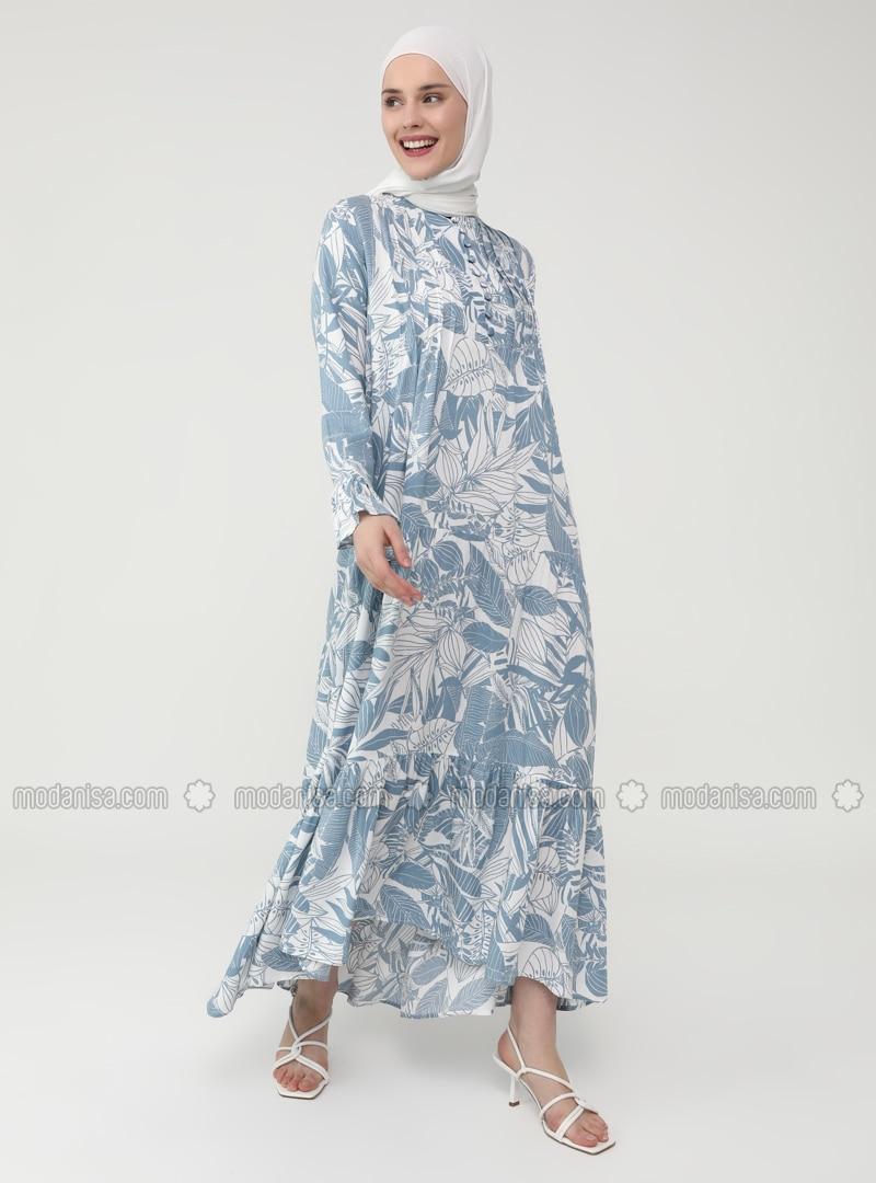 Blau Blumenmuster Rundhalsausschnitt Ohne Innenfutter Hijab Kleid Casual