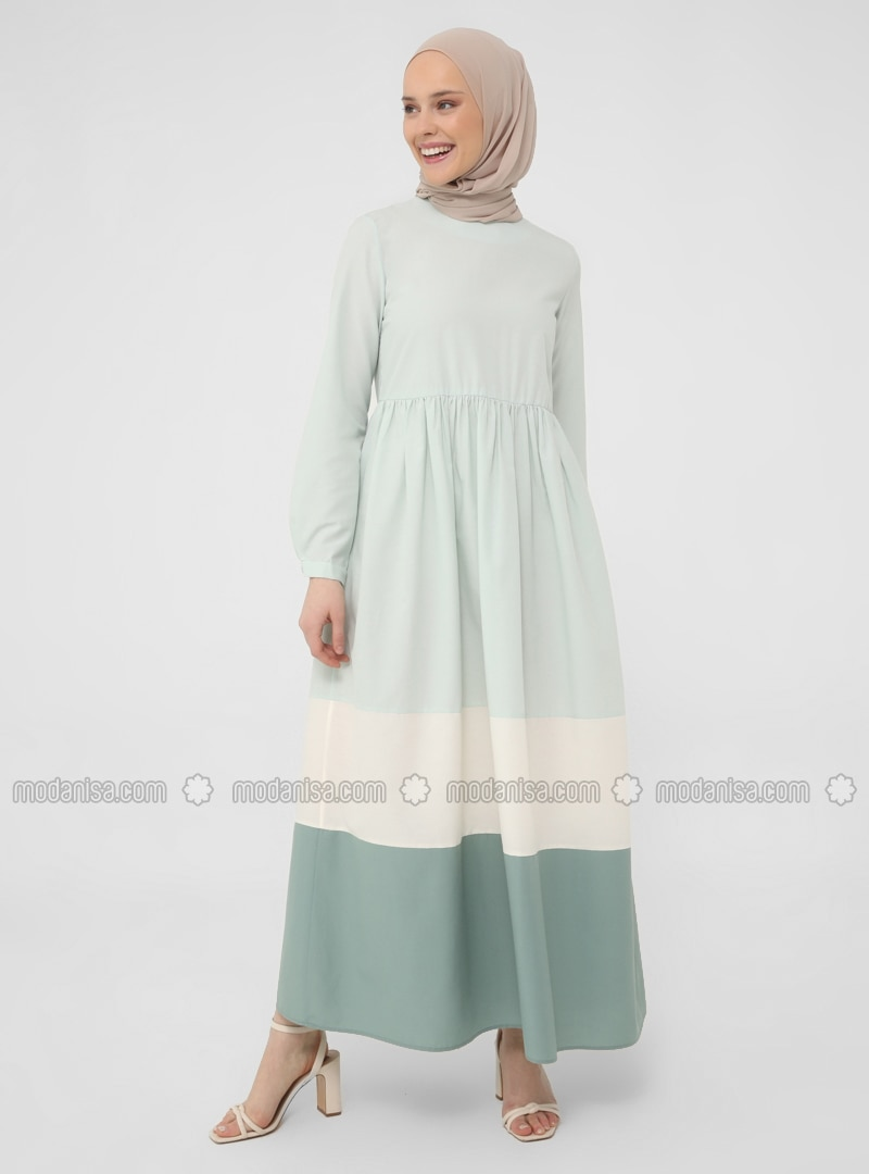 Color Block Wide Skirt Cotton Dress - Nile Green - Casual