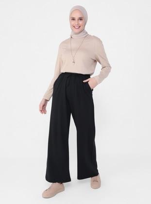 Black - Pants - Casual