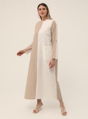 Oversize Natural Fabric Striped Dress - Stone White