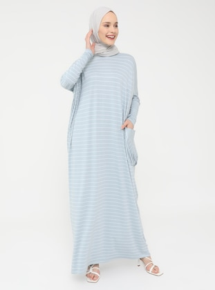 Pocket Detailed Striped Natural Fabric Relax Fit Dress - Sky Blue - Casual