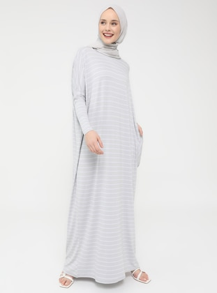 Pocket Detailed Striped Natural Fabric Relax Fit Dress - Gray - Casual