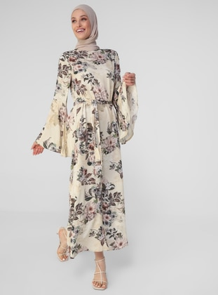 Brown - Powder - Multi - Crew neck - Unlined - Modest Dress