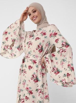 Natural Fabric Spanish Sleeve Dress - Pink - Woman