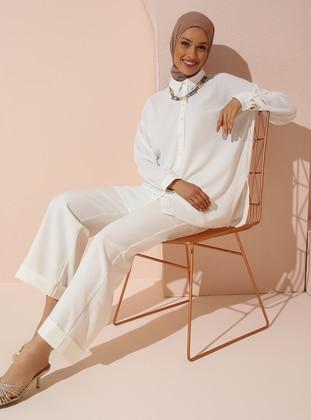 Cuffed Fabric Pants - Ecru - Woman