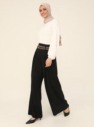 Ribbon Belt Aerobin Trousers Skirt - Black - Refka Woman