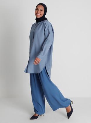 Ribbon Belt Aerobin Trousers Skirt - Dark Indigo- Woman