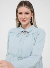 Oversize Ribbon Collar Oversize Tunic- Ice Blue