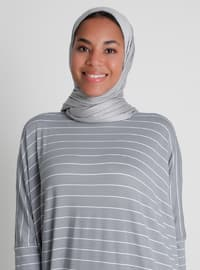 Pocket Detailed Striped Natural Fabric Relax Fit Dress - Gray Blue - Casual
