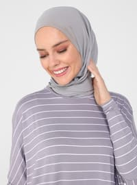 Pocket Detailed Striped Natural Fabric Relax Fit Dress - Lavender - Casual