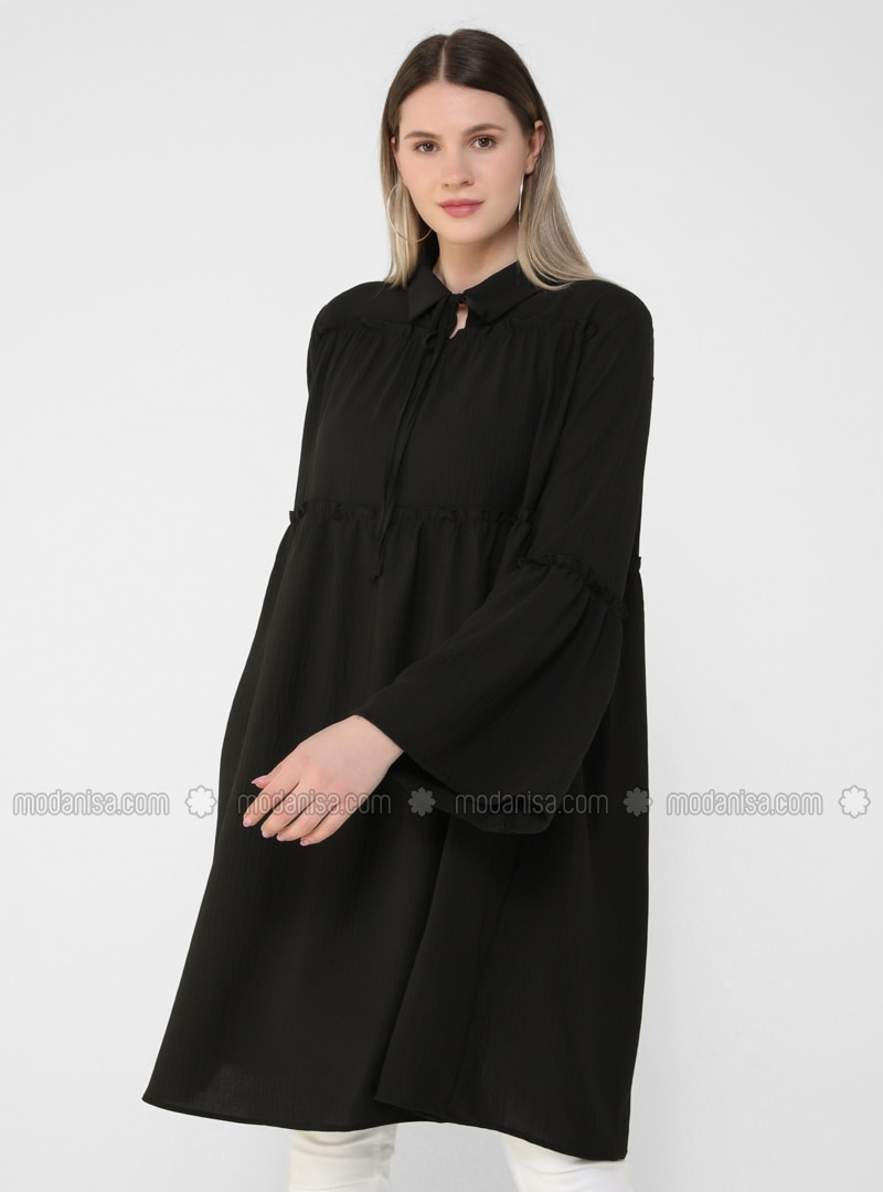 Oversize Ribbon Collar Oversize Tunic - Black