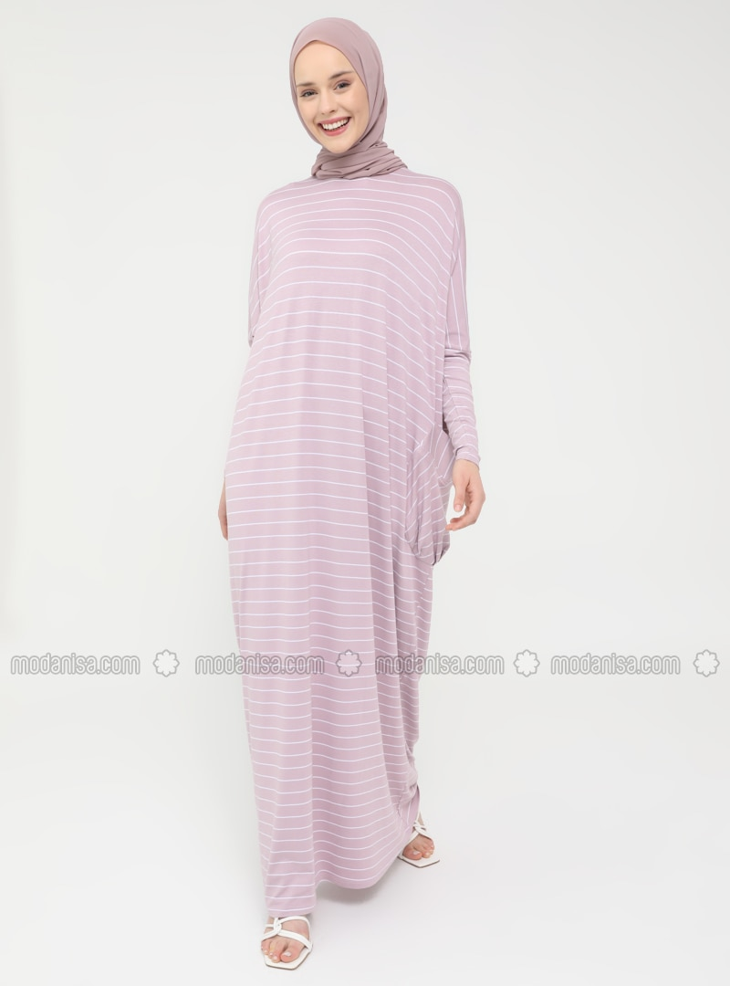 Pocket Detailed Striped Natural Fabric Relax Fit Dress - Deep Pink - Casual