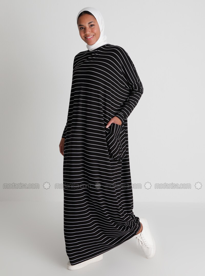 Pocket Detailed Striped Natural Fabric Relax Fit Dress - Black - Casual