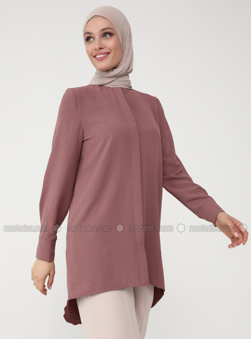 Long Back Aerobin Tunic with Hidden Button Placket - Dusty Rose - Woman