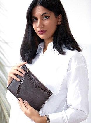 Brown - Clutch - Shoulder Bags