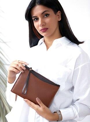 Brown - Tan - Clutch - Shoulder Bags