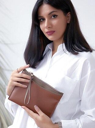 Tan - Mink - Clutch - Shoulder Bags