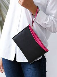 Fuchsia - Black - Clutch - Shoulder Bags