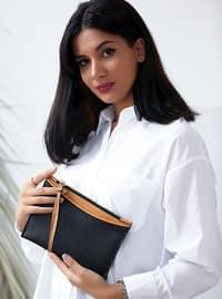 Black - Tan - Clutch - Shoulder Bags