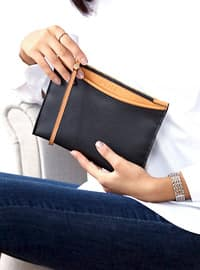 Black - Tan - Clutch - Shoulder Bags