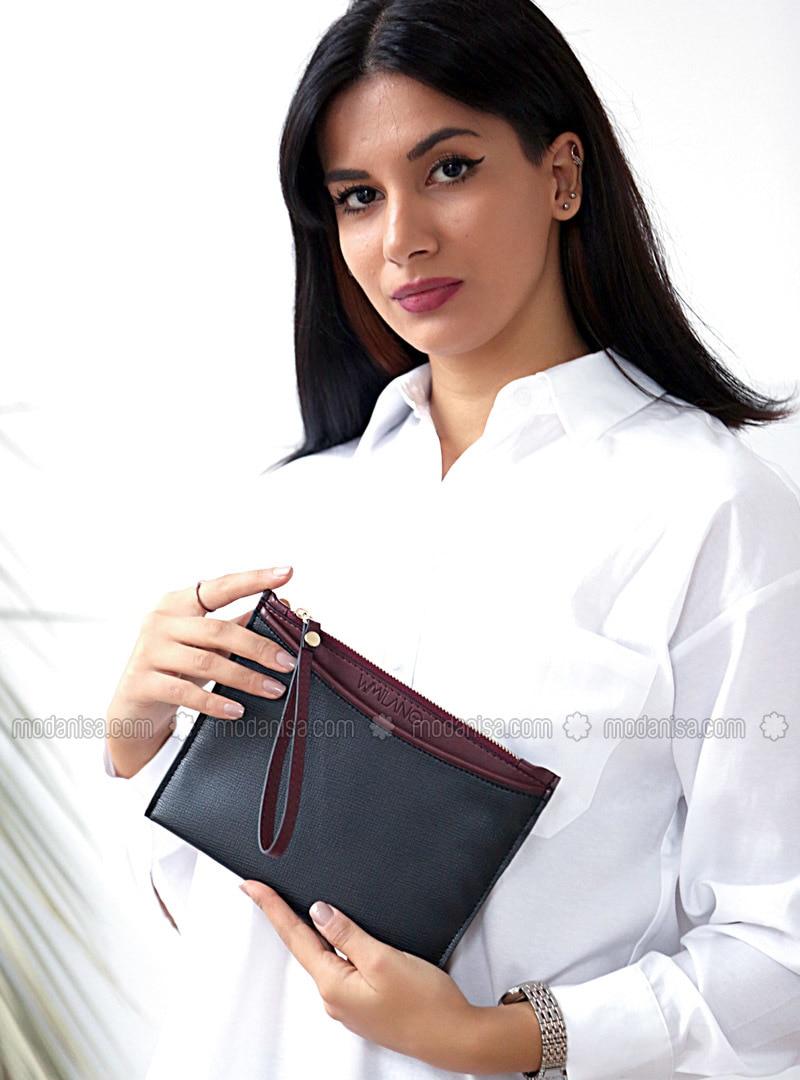 Maroon - Black - Clutch - Shoulder Bags