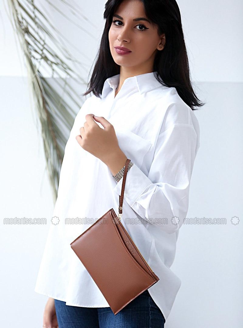 Tan - Clutch - Shoulder Bags