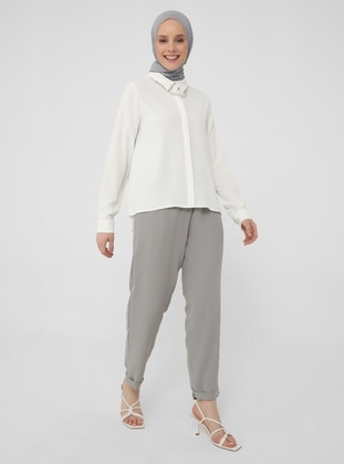 Gray - Pants - Casual