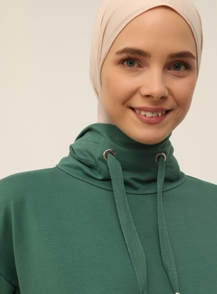 Green - Polo neck - Unlined - Modest Dress