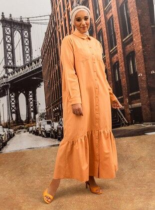 Oversize Button Down Dress - Peach