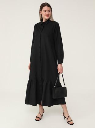 Black - Unlined - Point Collar - Plus Size Dress - Alia