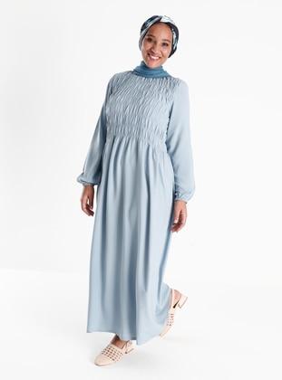 Oversize Natural Fabric Gathering Detailed Dress - Ice Blue