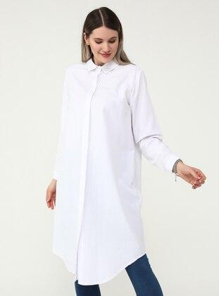 White - Ecru - Point Collar - Plus Size Tunic