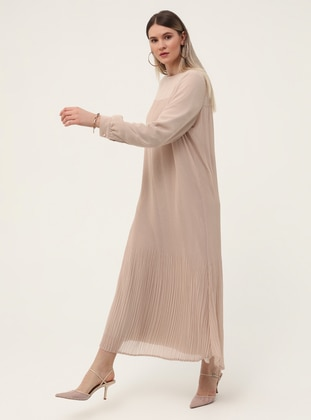 Beige - Fully Lined - Crew neck - Plus Size Dress