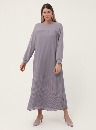 Lilac - Fully Lined - Crew neck - Plus Size Dress