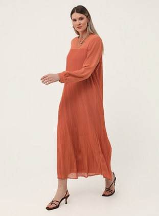 Tan - Orange - Fully Lined - Crew neck - Plus Size Dress