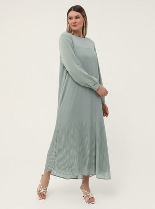 Sea-green - Fully Lined - Crew neck - Plus Size Dress