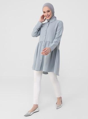 Gray - Blue - Stripe - Point Collar - Tunic