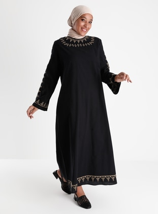 Natural Fabric Oversize Embroidery Detailed Dress - Black